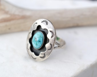 Sterling Silver Native American Shadow Box Ring, Turquoise Shadow Box Ring, Sterling Silver Navajo Turquoise Ring, Old Pawn Ring