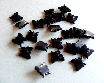 Vintage Early Plastic Black Butterfly Buttons 9/16