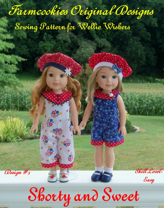"""PRINTED Sewing Pattern: SHORTY and SWEET/ Sewing Pattern fit 14"""" American Girl  Wellie Wishers®"""