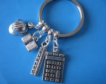 Civil Engineer Keyring Graduation Gift Engineering Keychain Hard Hat Charm