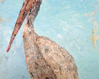 Original Fine Art Acrylic Palette Gallery Canvas Pelican