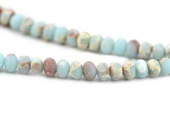 Imperial Impression Jasper Matte Powder Blue Beige Swirls Inclusions Composite Stone Upcycled Bead Rondelle 6x8mm
