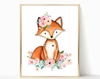 Fox Nursery Decor. Floral Fox Nursery Art. Woodland Fox Art. Fox Printable Nursery Art. Woodland Nursery Decor. Woodland Nursery Girl. 8x10