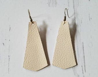 Leather Earrings Brown Leather Earrings Leather Bell Earrings BONE Cream Beige and Bronze Drop and Dangle Earrings 8 dollar SALE