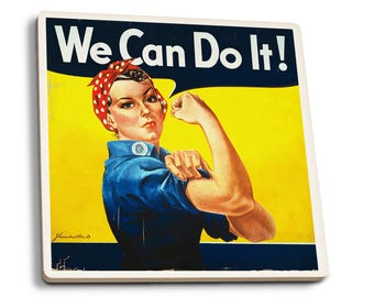 Rosie the Riveter We Can Do It Vintage Propaganda (Set of 4 Ceramic Coasters)