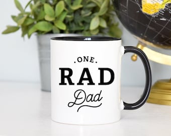 One Rad Dad Mug, Father Mug, Dad Mug, Daddy Mug, Papa Mug, Father's Day Gift, Rose Gold Rebel, Dad Gift, Parent Mug, Hand Lettered Mug