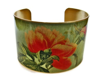 Peony cuff bracelet brass adjustable Free Shipping to USA Gifts for her