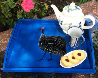 Serving Tray Individually Hand Decorated with Guinea Fowl, FREE Shipping