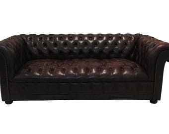 Chesterfield Couch in Oxblood Red