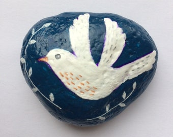 Flying bird painted rock