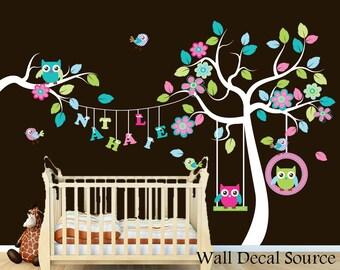 Nursery Tree Decal - Custom Name Decal - Hanging Name Wall Decal