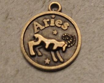 Aries/Courageous Zodiac Charm, Aries charm, Zodiac charm, Aries pendant, Zodiac charm, bronze charm, bronze pendant, DIY jewelry accessories