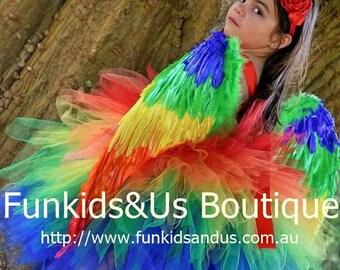 Parrot  Tutu Dress Costume - macaw costume, parrot tutu   , bird costume, bird tutu. wings not Included- only Dress and Headband