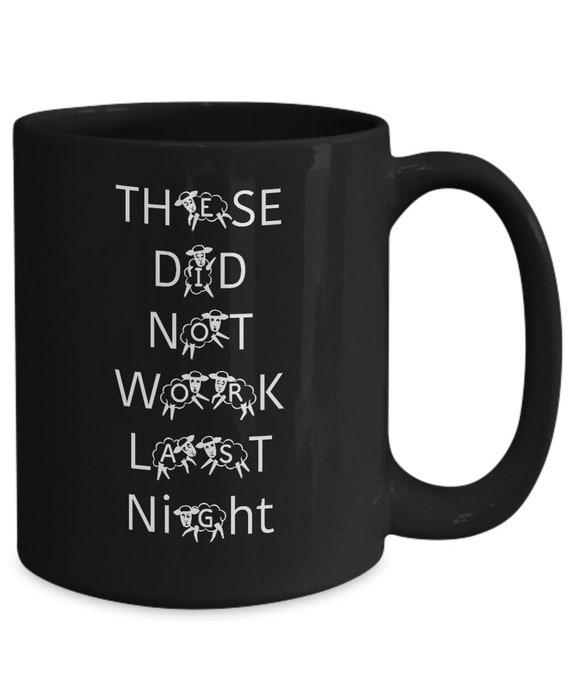 Counting sheep coffee mug Coffee lovers black cup Insomnia gift
