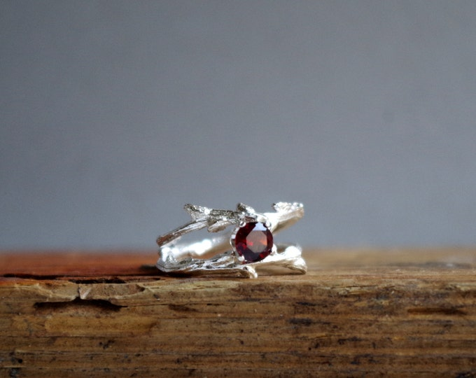 Red Garnet Double Twisted Branch Jewelry Elvish Twig  Ring Organic January Birthstone Valentines Jewelry