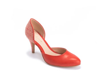Red high heel shoes / womens red pumps / red vegan leather pumps / gorgeous red shoes / classic elegant pumps / quality vegan leather