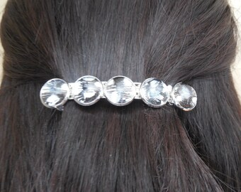 Black and white barrette, black and white hair accessory, metal hair jewel, real feather hair clip, black hair jewel