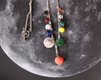 Solar System Necklace, Planet Necklace, Outer Space Necklace, Galaxy Necklace, Cosmic Necklace, Astrology Necklace, Science Jewelry, Women