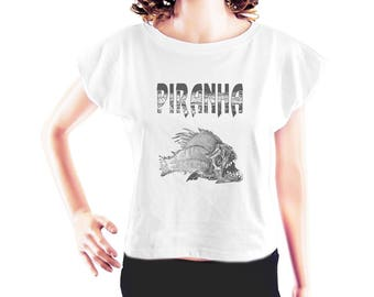 Piranha shirt fish tshirt hipster graphic tee instagram tshirt quote t shirt ladies tee tumblr shirt women tshirt crop top crop shirt size S