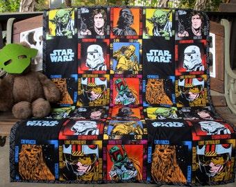 "New*STAR WARS Characters Blocks* 37""Wx47""L Quilt Star Wars wording backing Chewbacca C3P0 Luke Skywalker Han Solo Yoda Darth Vader Boba Fett"