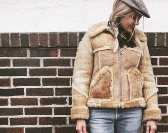 Vintage Genuine Sheepskin Shearling Coat - Piapa Ltd New York - Rancher Rustic Western Jacket - Women's Size XS Small