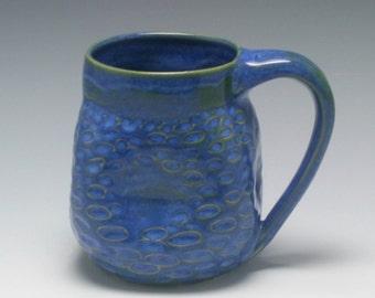 Coffee Mug, 15 oz, handthrown ceramic mug, stoneware pottery mug, yummy blue with hints of brown, textured and altered/Ceramics and Pottery