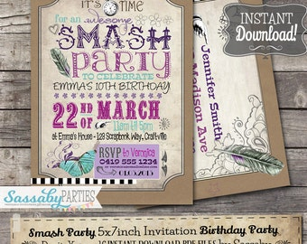 Smash Party Invitation - INSTANT DOWNLOAD - partially Editable & Printable Scrapbooking, Tween, Journal, Boho, Bday Invite