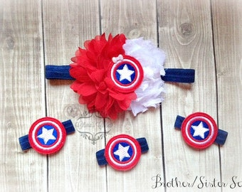 Captain America headband  Elastic Bracelets Inspired Choose the set or individual pieces!