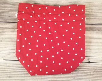 Polka dot Knitting Project Bag, Small Sock bag, project bag, small bag, drawstring bag, storage bag