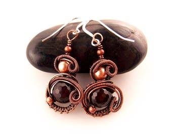 agate wire wrapped earrings-wire weave jewelry-copper earrings-handmade earrings-Melissa Wood Jewelry-wire wrapped stone-wire weaved jewelry