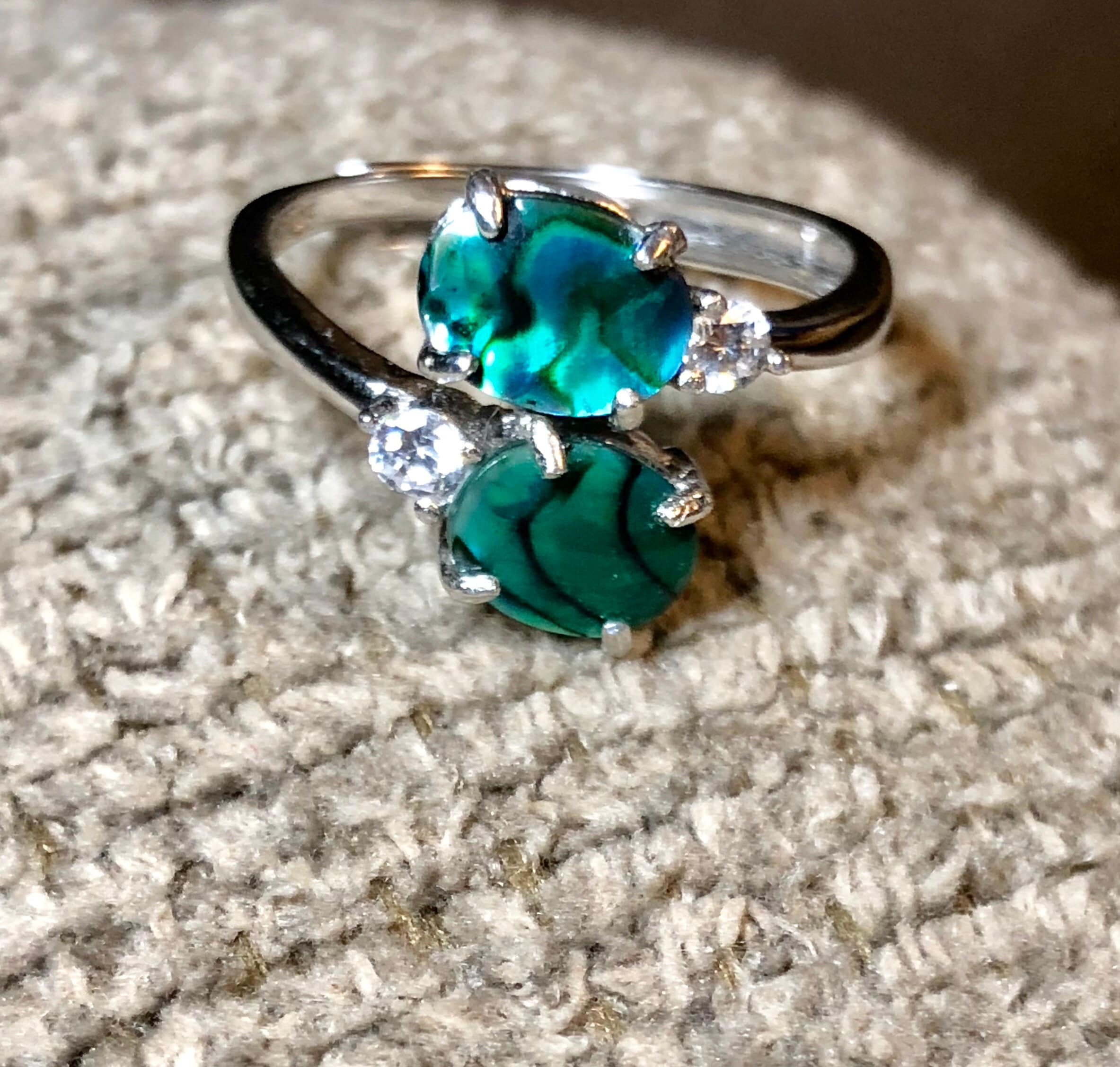 antler deer white in with rings gold engagement products moissanite ring abalone