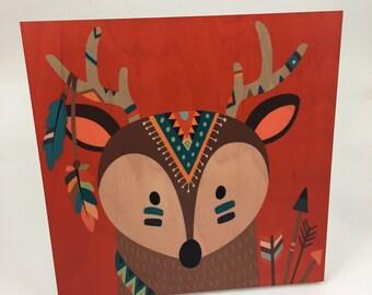 Deer Tribal Wood Wall Art, Cabin or Nursery Decor, Colorful Graphic Art print on wood, woodland animals,
