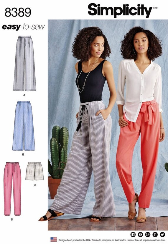 Loose Fit Pants Pattern, Wide Leg Pants Pattern, Tapered Pants Pattern, Elastic Waist Pants Pattern, Simplicity Sewing Pattern 8389