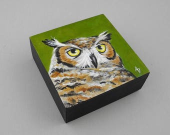 Great Horned Owl art block painting with hoot owl, woodland owl painting, realistic nature scene, woodland decor, small gift
