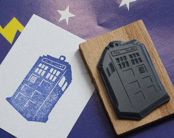 Hand Carved Doctor Who TARDIS Stamp