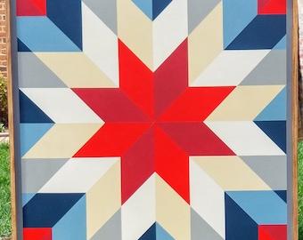 Barn Quilt - Wood, Custom Handmade, 3' x 3' - Shooting Star
