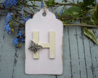 Pink gift tag with personalised initial-gift tag-hang tag-gift wrap-x1