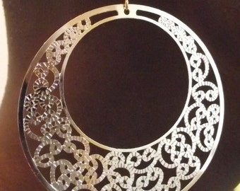 Large Laser Cut Golden Round Filigree Medallion Earrings, Gold Earrings