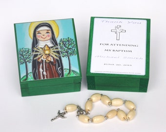 St Clare of Assisi box Saint Clare 1st communion favor Baptism favors for girls Baby shower favors girl Christening favors Gift box jewelry