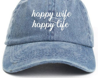 Happy Wife Happy Life Unstructured Baseball Dad Hat Adjustable Cap New-Denim