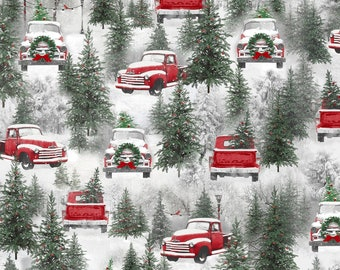 Holiday Wishes Multi Truck -- 1/2 Yard