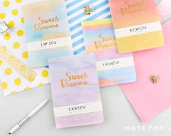 Note For Sweet Dream—Minimalist Notebook,Blank Notebook, Marble,Journal, Planner, Water color, Planner Insert, Dream, Korean, Rainbow, Marbl