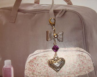 gem heart and bow with Pearl Crystal on hook for decoration objects