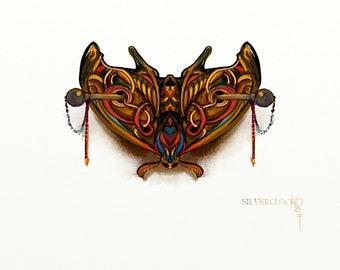 CUSTOMIZED QUEEN MOTH barrette butterfly stylized hairpin carved beautiful hairstyle natural faerie orient celtic forest elven gift