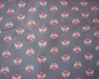 Floral and heart fabric/Quilt fabric/Blue,white and pink  heart Fabric/Sewing supply/Craft fabric/Sewing fabric/Springs industries fabric