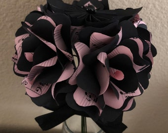 Book Flower Bouquet done in Pink Sheet Music and Black