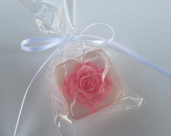 Pink Rose Favors, ANY Color, 12 with personalized labels and favor bags
