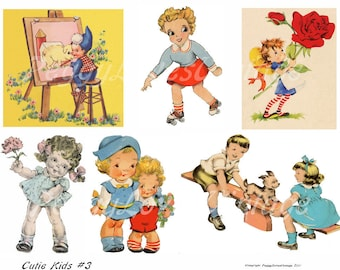 Cutie Kids 3 Digital Collage from Vintage Greeting Cards - Instant Download  - Cut Outs