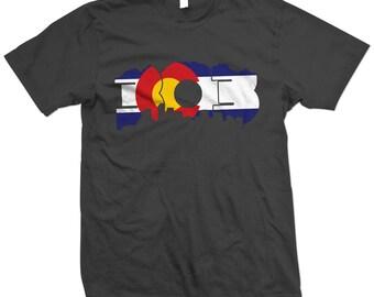 303 Mile High City Skyline & Rocky Mountains - Denver Colorado Flag T-Shirt/Tshirt