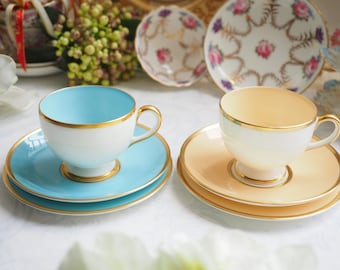 Sale 15% off : Vintage Wedgwood blue trio and peach trio, cup & saucer with side plate (6 pcs)
